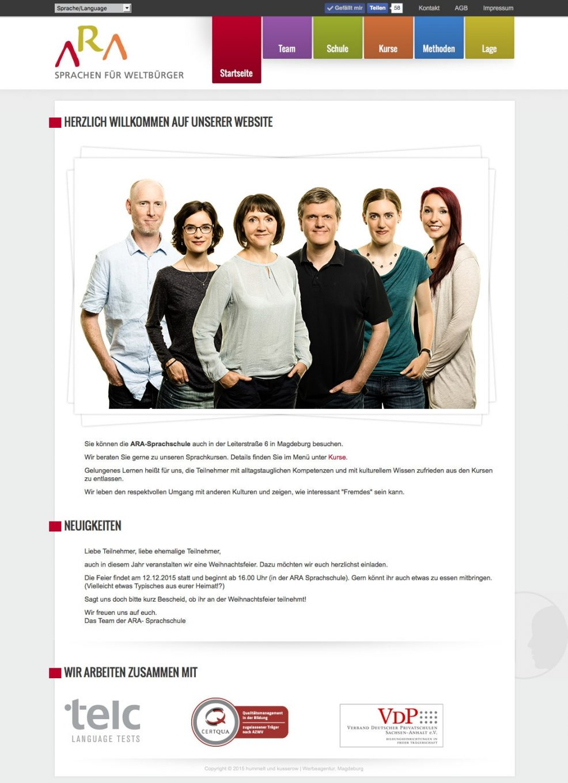 Webdesign und Programmierung für  ARA Sprachschule