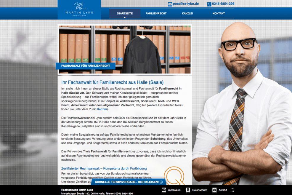Webdesign und Programmierung für  Rechtsanwalt Martin Lyko