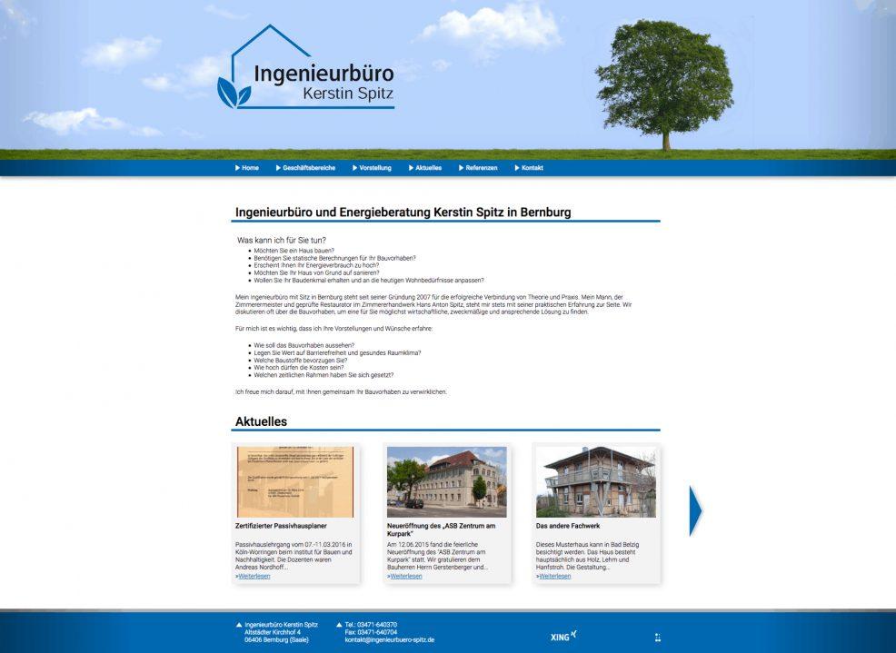 Webdesign und Programmierung für  Ingenieurbüro Kerstin Spitz