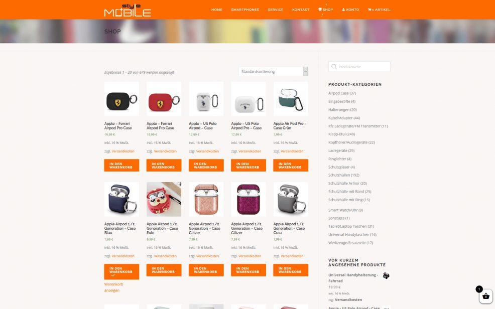 Webdesign und Programmierung für  styleMobile