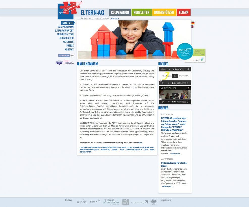 Webdesign für  MAPP-Empowerment GmbH (gemeinnützig) – Programm ELTERN-AG