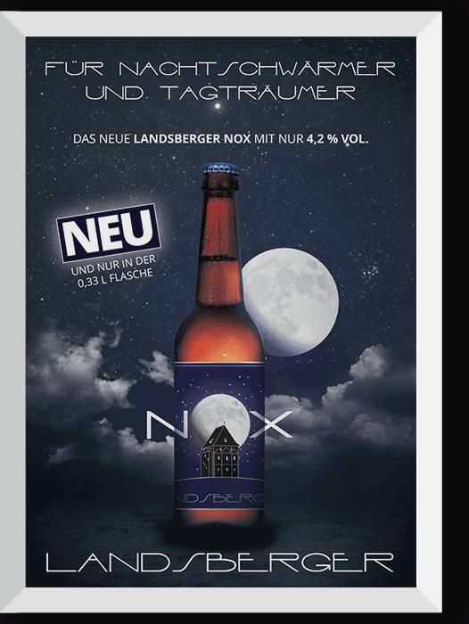 """Flaschenetiketten + Plakat """"NOX"""" für  Brauerei Landsberg GmbH"""