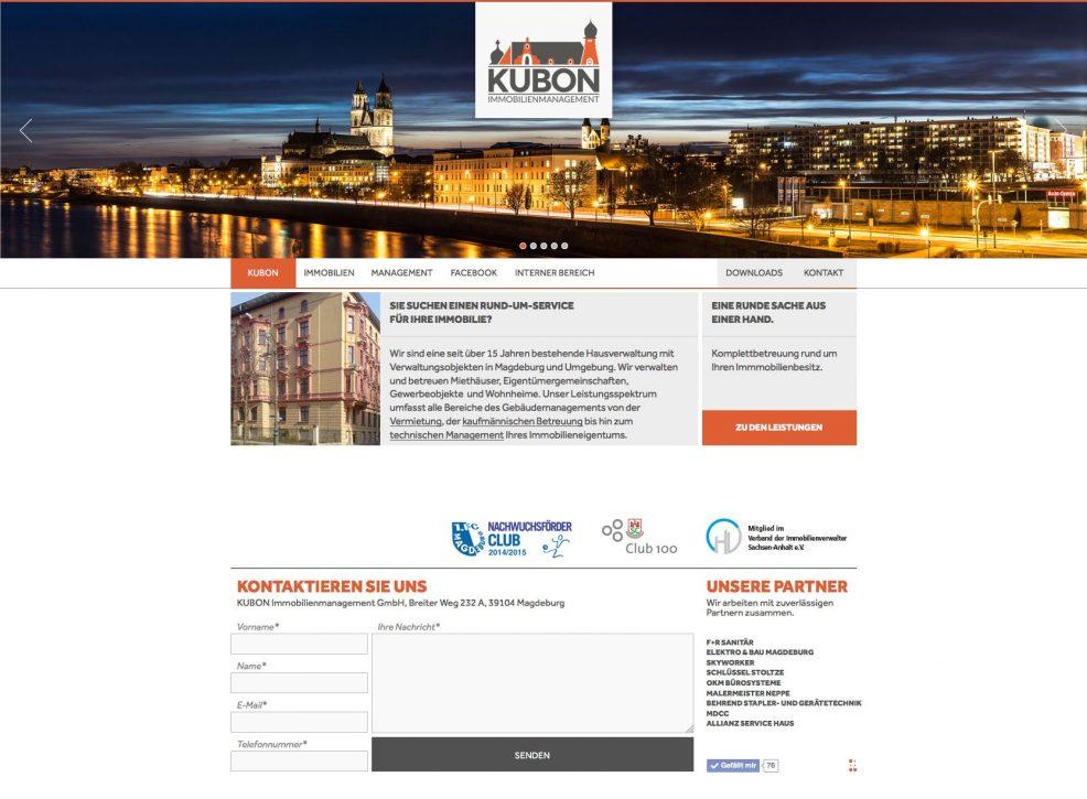 Webdesign und Programmierung für  KUBON Immobilienmanagement GmbH