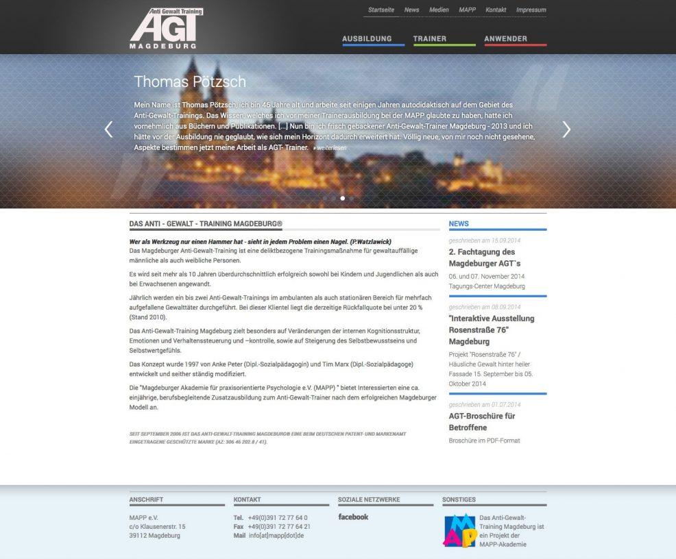 Webdesign für  AGT – Anti Gewalt Training Magdeburg