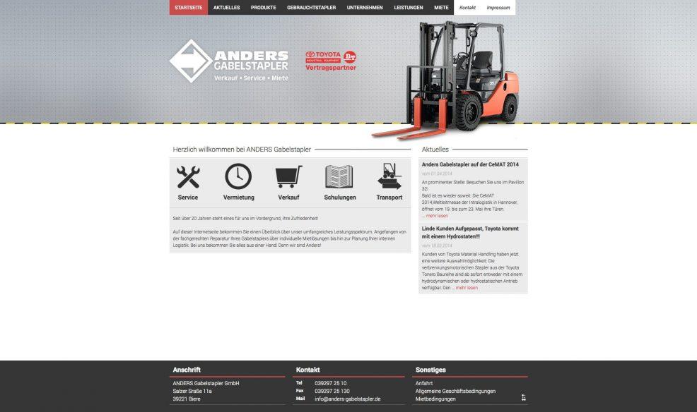 Webdesign und Programmierung für  Anders Gabelstapler GmbH