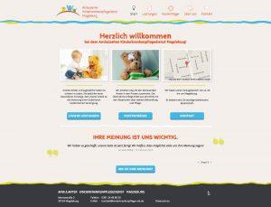 Screenshot der Website vom Ambulanten Kinderkrankenpflegedienst
