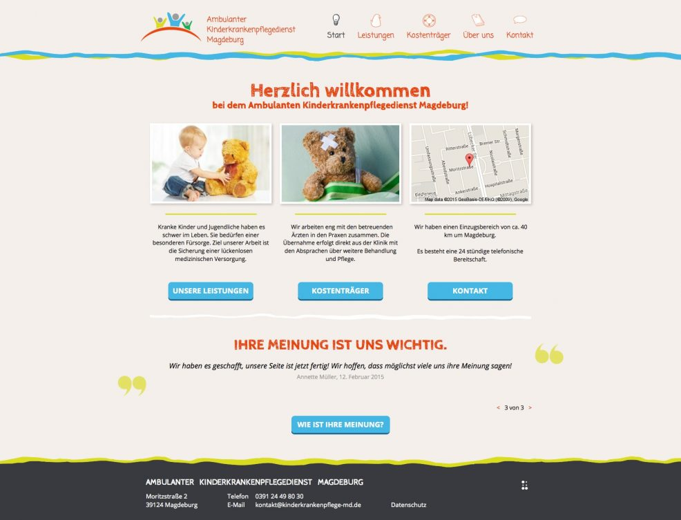 Screenshot der Website vom Ambulanten Kinderkrankenpflegedienst
