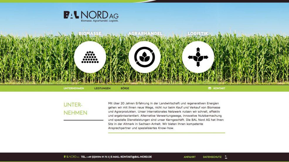 Webdesign und Programmierung für  BAL Nord AG