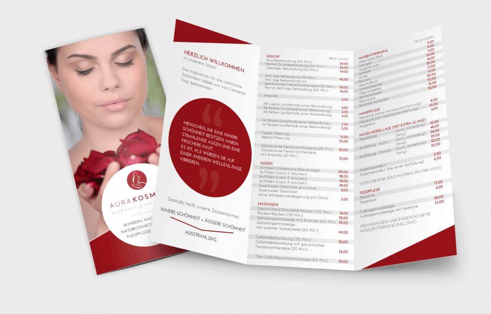 Faltblatt für  AURA Kosmetik