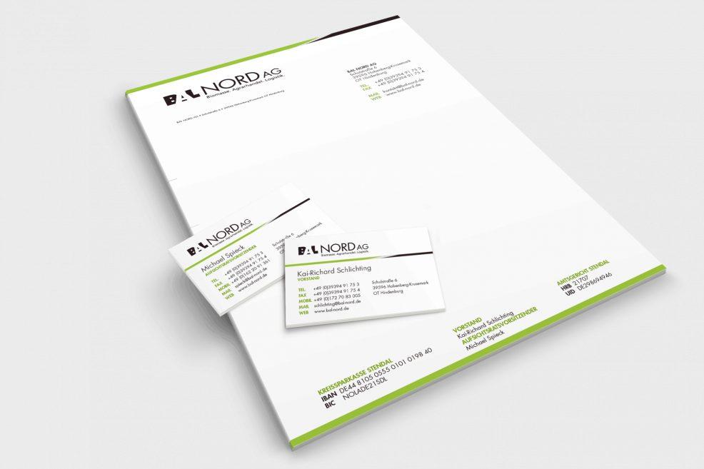 Briefpapier und Visitenkarten für  BAL Nord AG