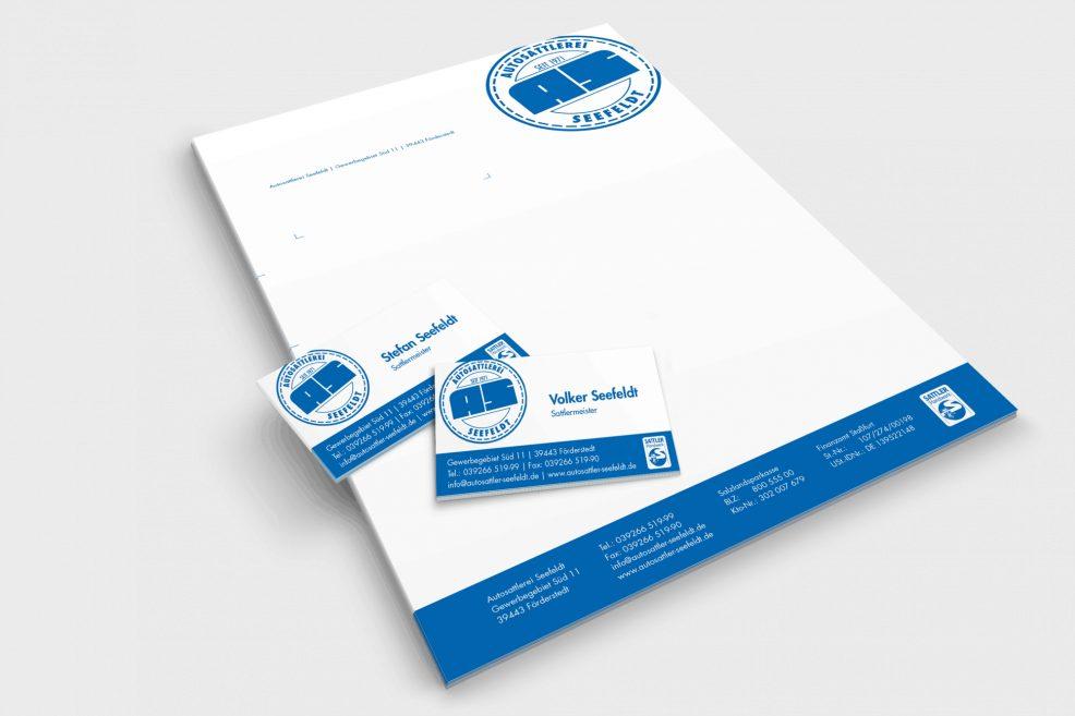 Briefpapier und Visitenkarten für  Autosattlerei Seefeldt