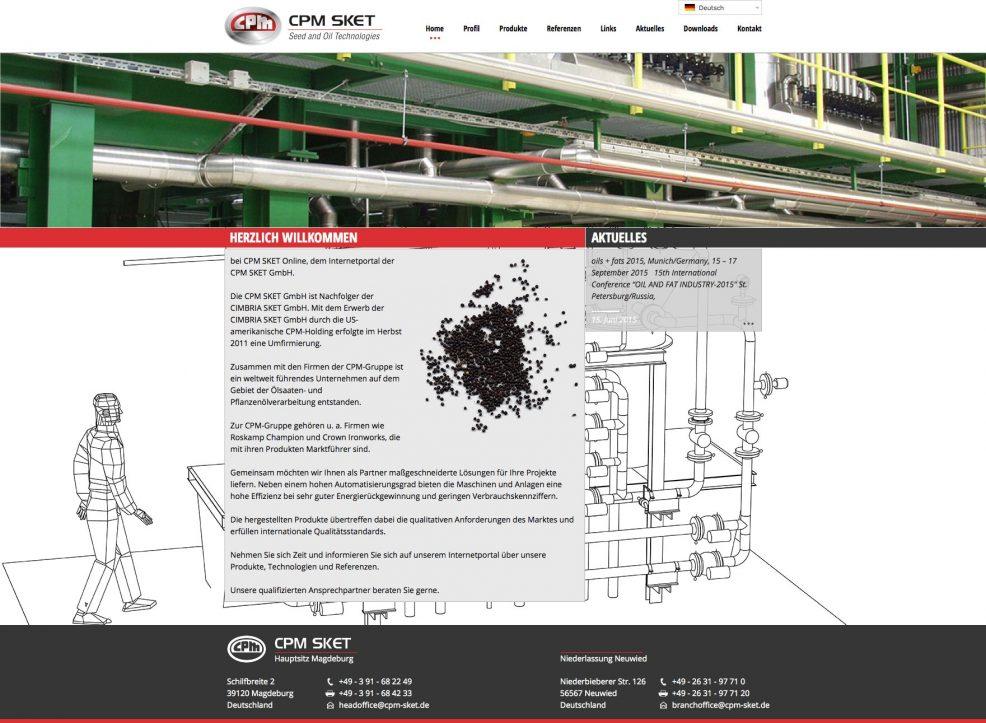 Webdesign und Programmierung für  CPM SKET GmbH