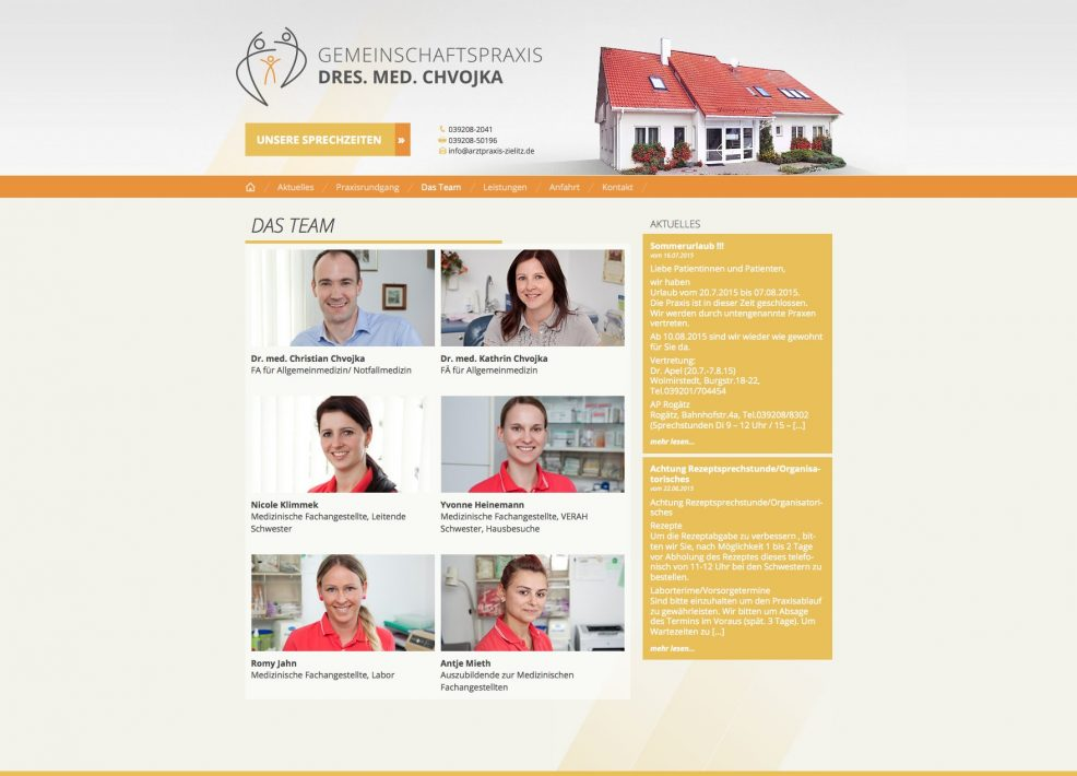 Webdesign und Programmierung für  Gemeinschaftspraxis Dres. med. Chvojka
