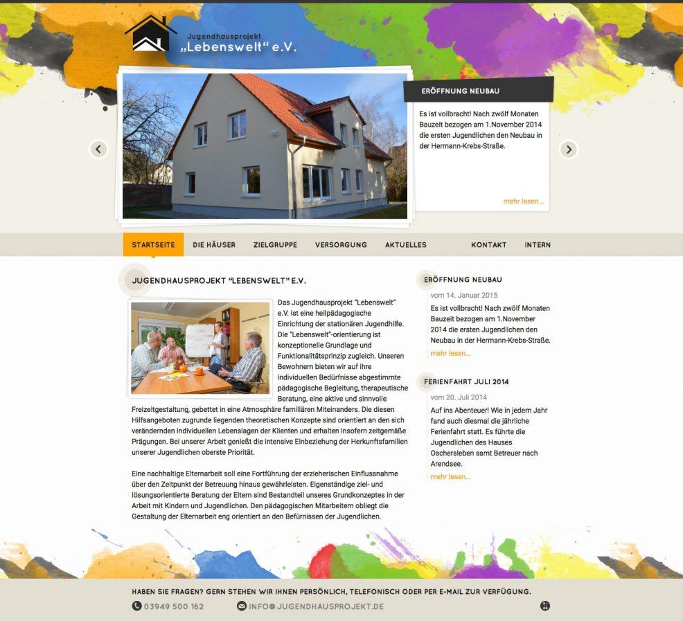 """Webdesign und Programmierung für  Jugendhausprojekt """"Lebenswelt"""" e.V."""