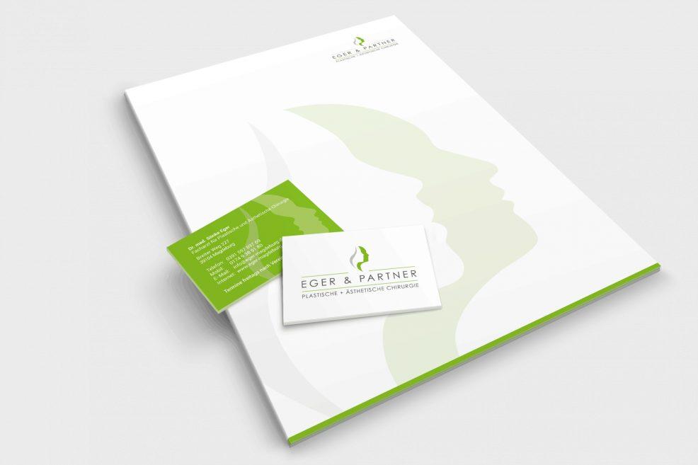 Briefpapier und Visitenkarten für  Eger & Partner – Plastische und Ästhetische Chirurgie