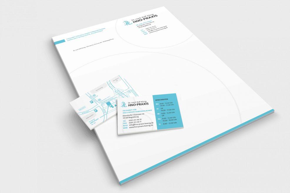 Briefpapier und Visitenkarten für  HNO-Praxis Dr. med. Rolf König