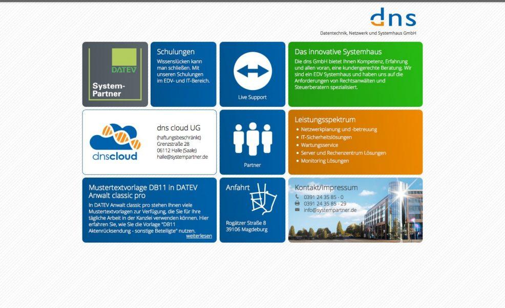 Webdesign und Programmierung für  dns Datentechnik, Netzwerk und Systemhaus GmbH