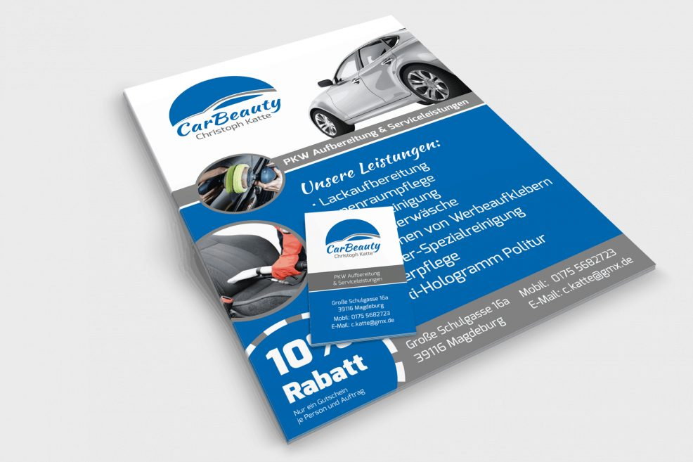 Flyer und Visitenkarte für  CarBeauty – Christoph Katte