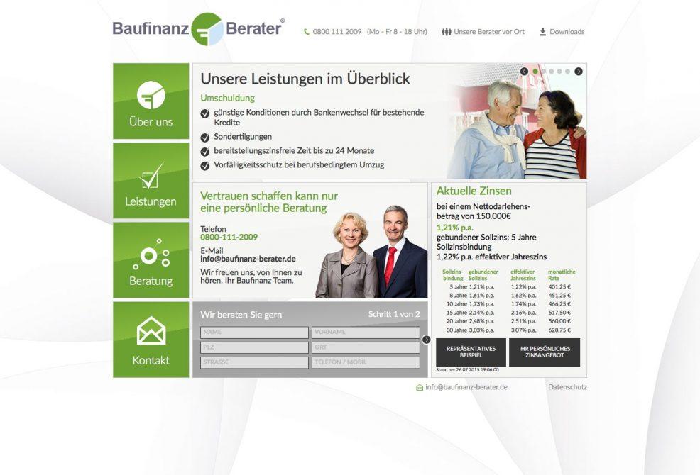 Webdesign und Programmierung für  Baufinanz-Berater