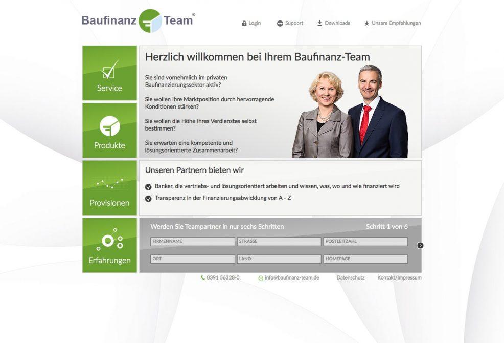 Webdesign + Programmierung für  Baufinanz-Team GmbH