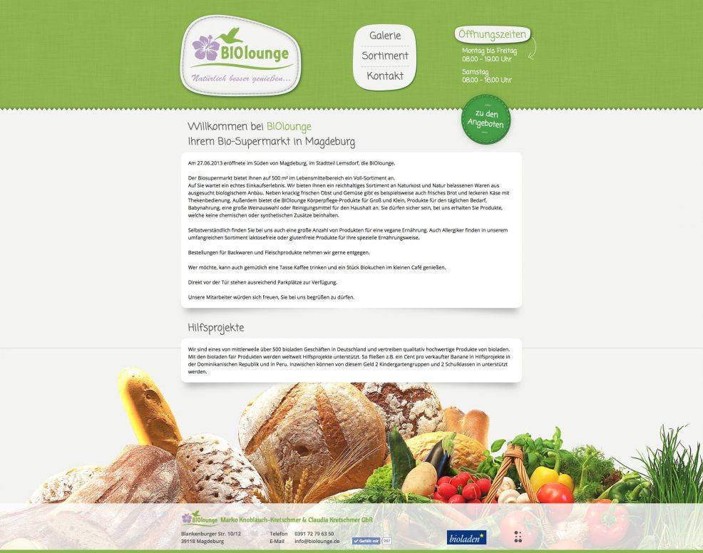 Webdesign und Programmierung für  BIOlounge