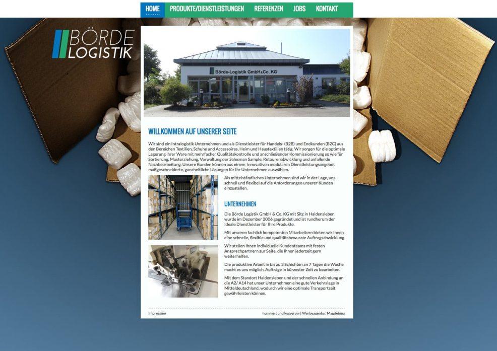 Webdesign und Programmierung für  Börde Logistik GmbH & Co. KG