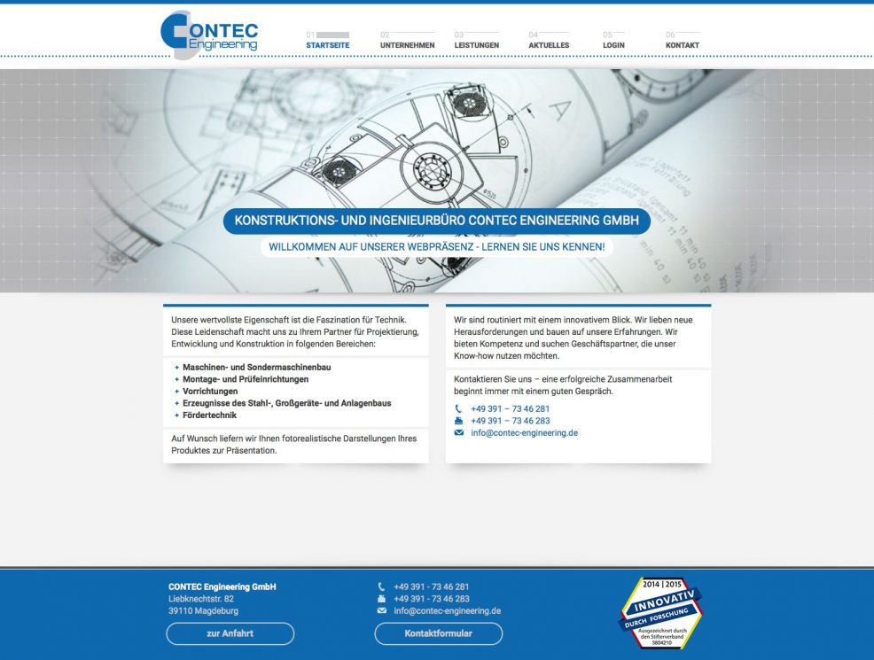 Webdesign und Programmierung für  CONTEC Engineering GmbH