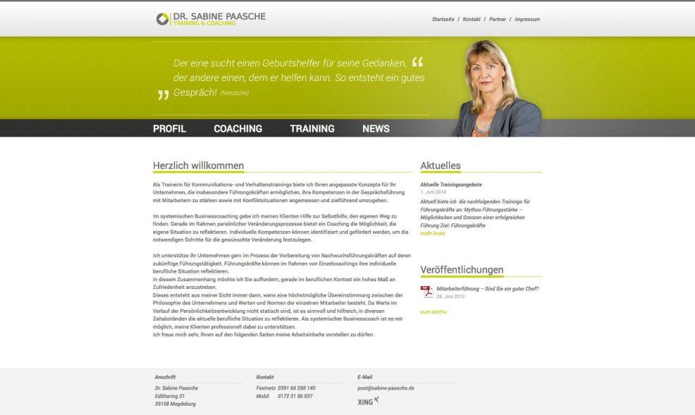 Webdesign und Programmierung für  Dr. Sabine Paasche – Training & Coaching