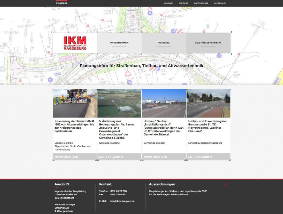 Webdesign und Programmierung für  IKM Ingenieurkontor Magdeburg