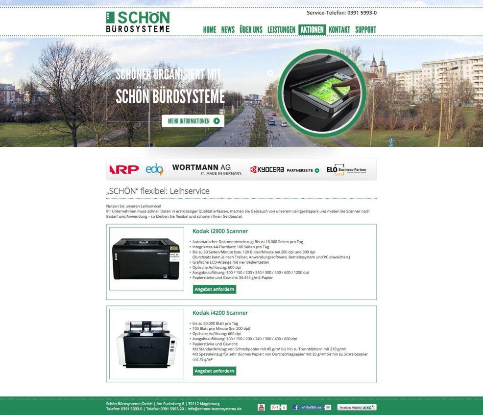 Website für  Schön Bürosysteme GmbH