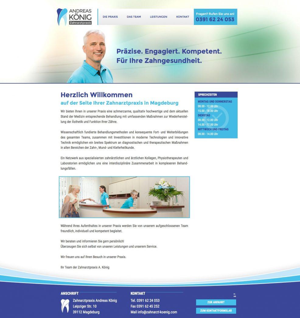 Webdesign und Programmierung für  Zahnarztpraxis Andreas König