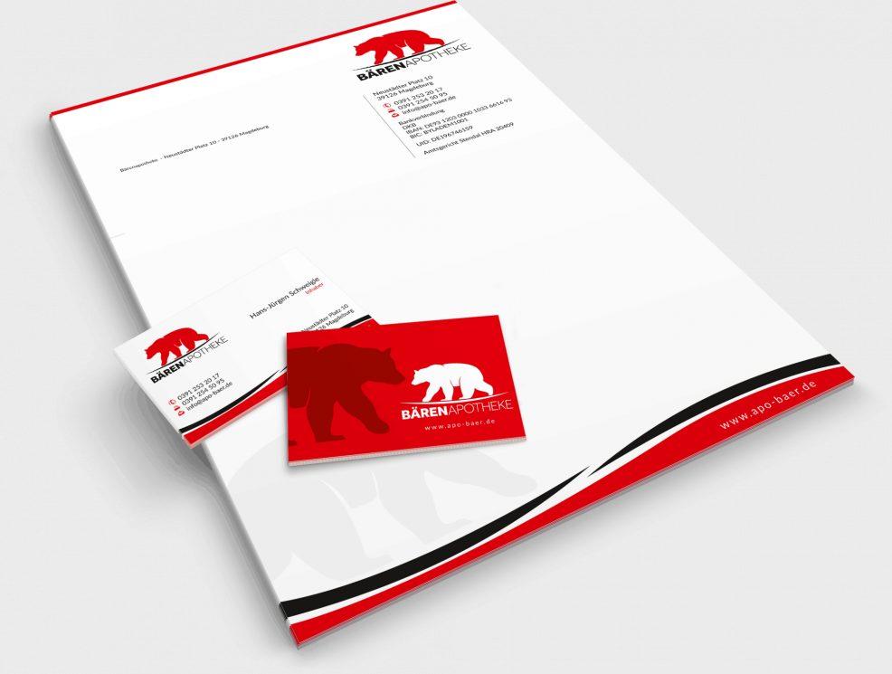 Briefkopf und Visitenkarten für  Bärenapotheke