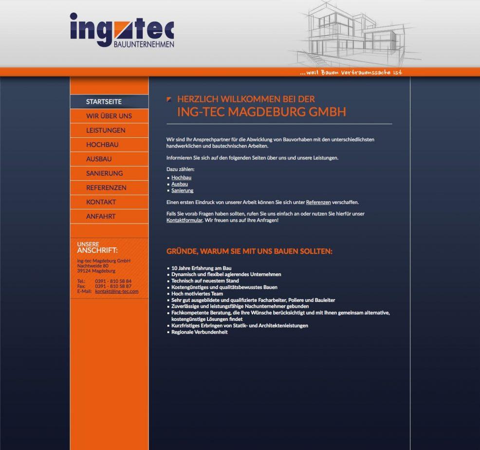 Webdesign und Programmierung für  ing-tec Magdeburg GmbH