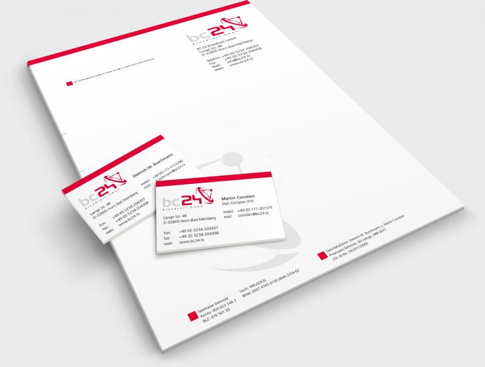 Briefpapier und Visitenkarten für  bc24 Broadcast GmbH