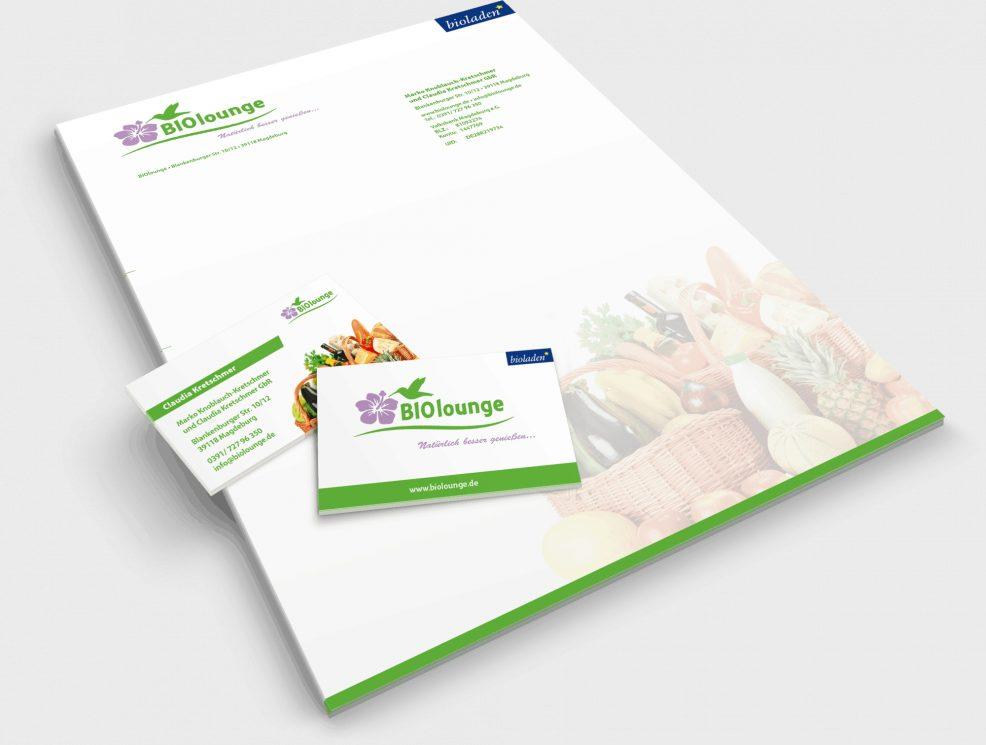Briefkopf und Visitenkarten für  BIOlounge GmbH
