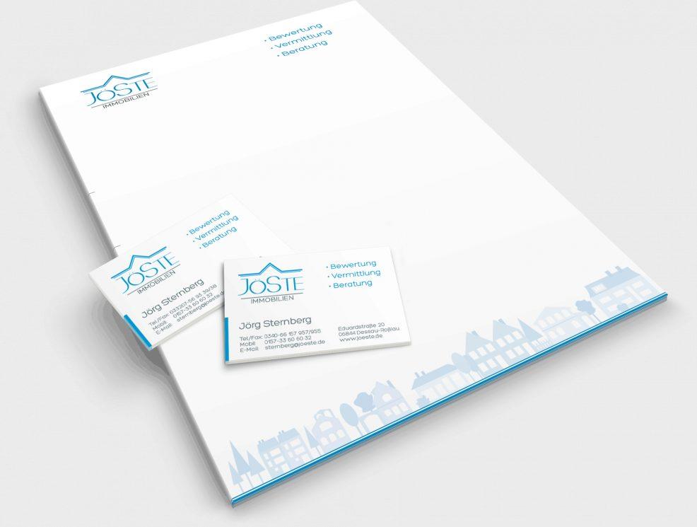 Briefkopf und Visitenkarten für  JöSte Immobilien – Jörg Sternberg