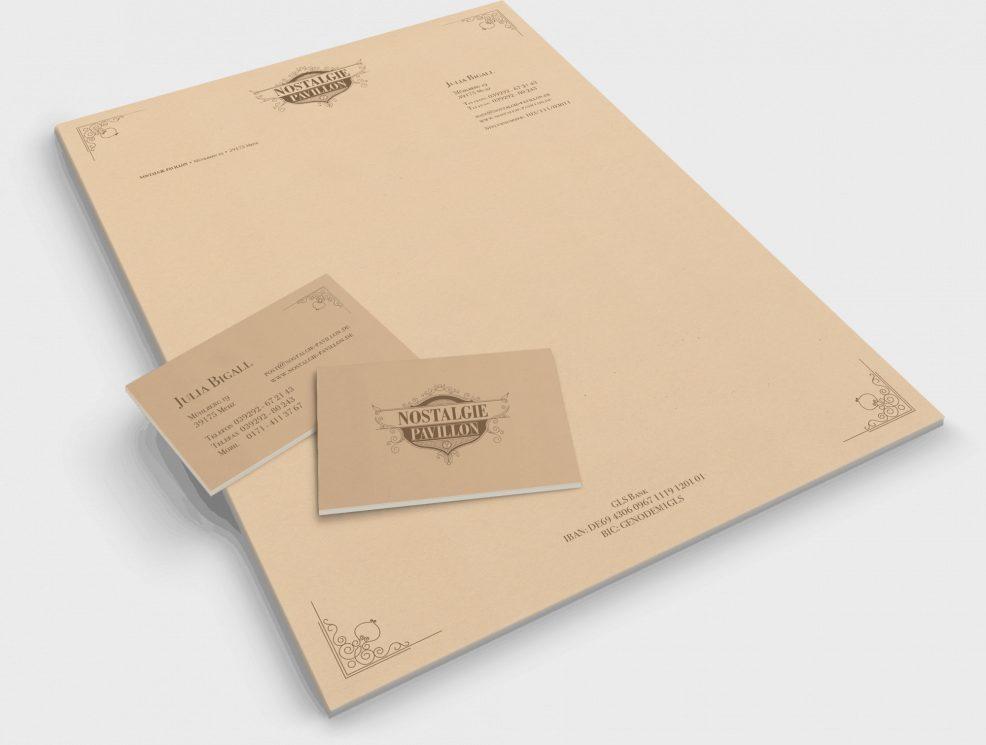 Briefpapier und Visitenkarten für  Nostalgie Pavillon