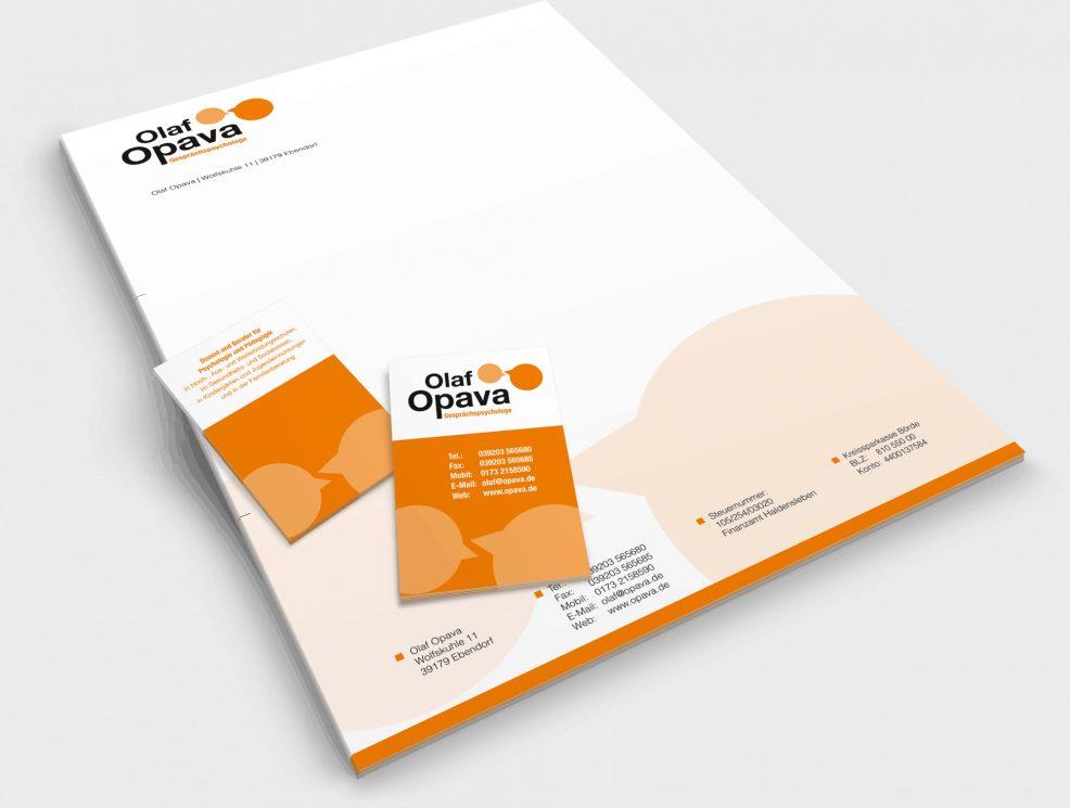 Briefkopf und Visitenkarten für  Gesprächspsychologe Olaf Opava