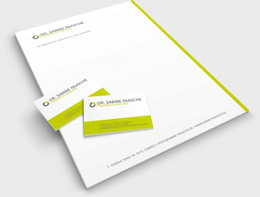 Briefkopf und Visitenkarten für  Dr. Sabine Paasche – Training & Coaching