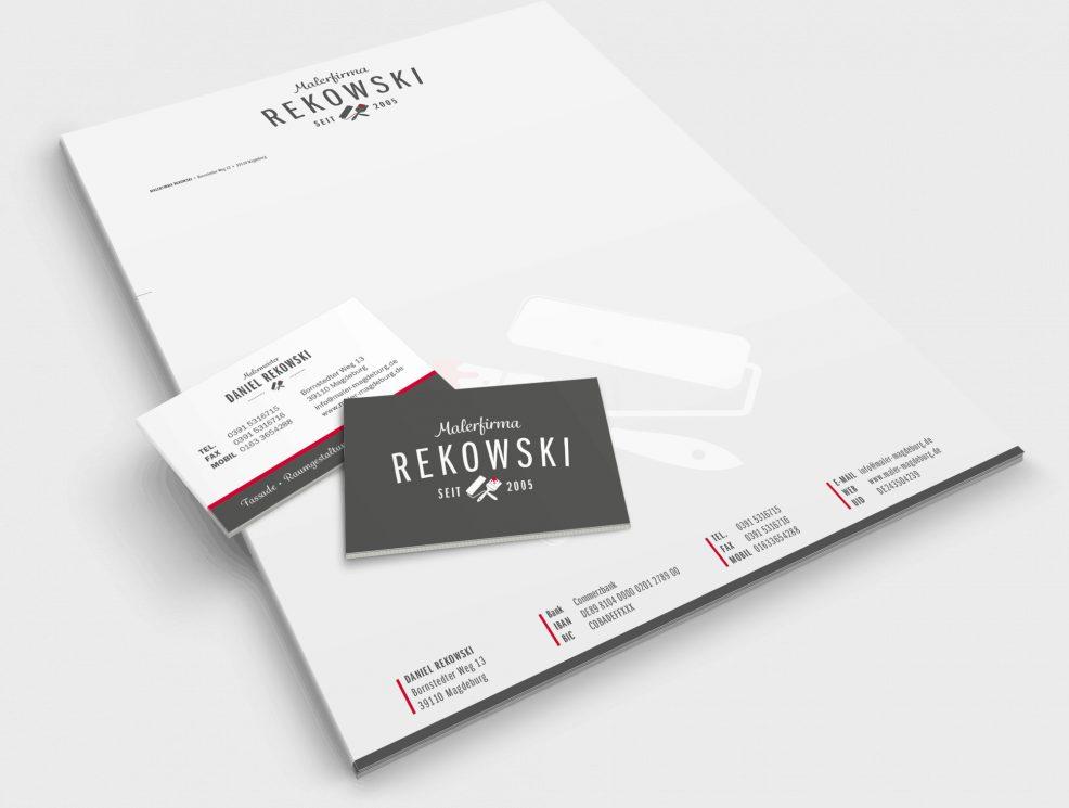 Briefkopf und Visitenkarten für  Malerfirma Rekowski