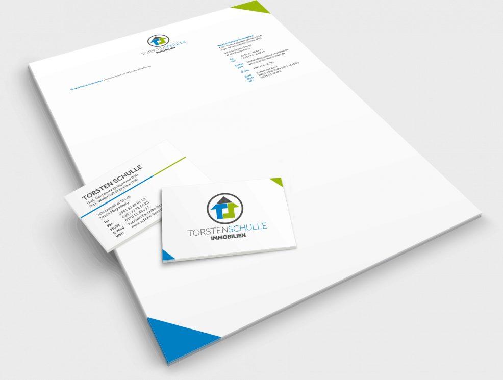 Briefkopf und Visitenkarten für  Torsten Schulle Immobilien