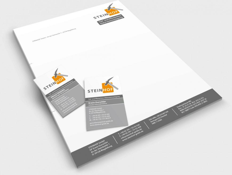 Briefkopf und Visitenkarten für  Steinhof GmbH