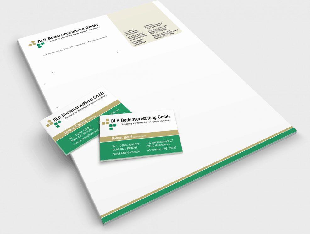 Briefkopf und Visitenkarten für  BLB Bodenverwaltung GmbH