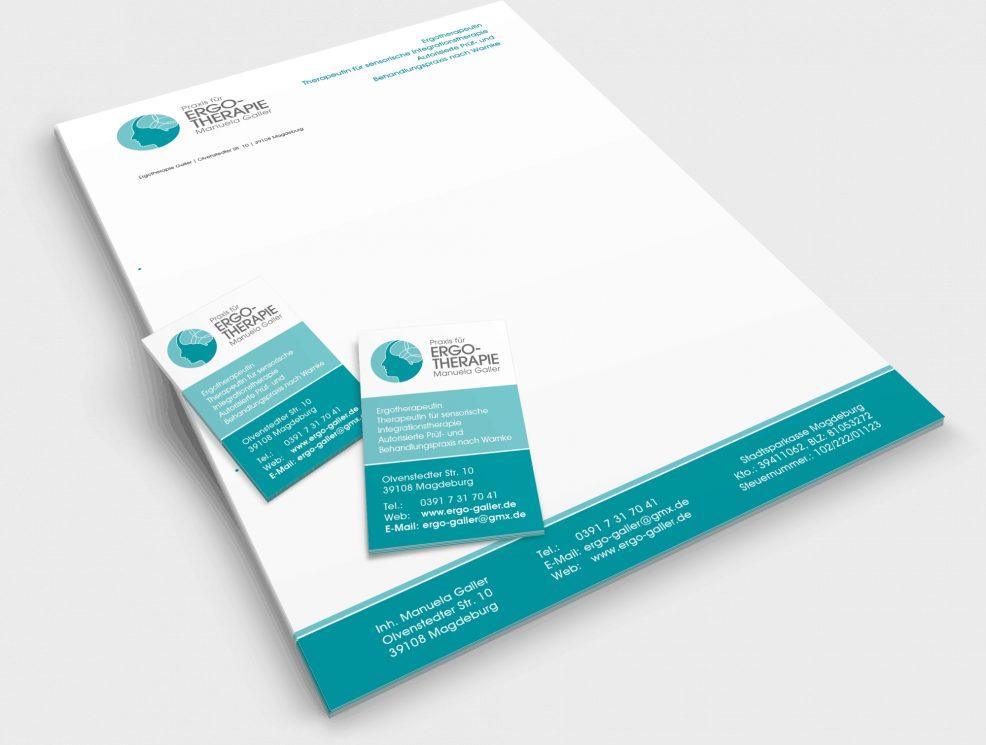 Briefkopf und Visitenkarten für  Praxis für Ergotherapie Manuela Galler