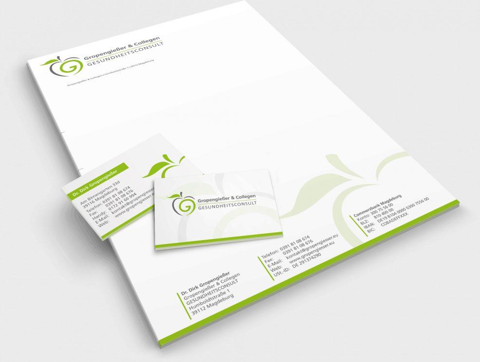 Briefkopf und Visitenkarten für  Gropengießer & Collegen Gesundheitsconsult