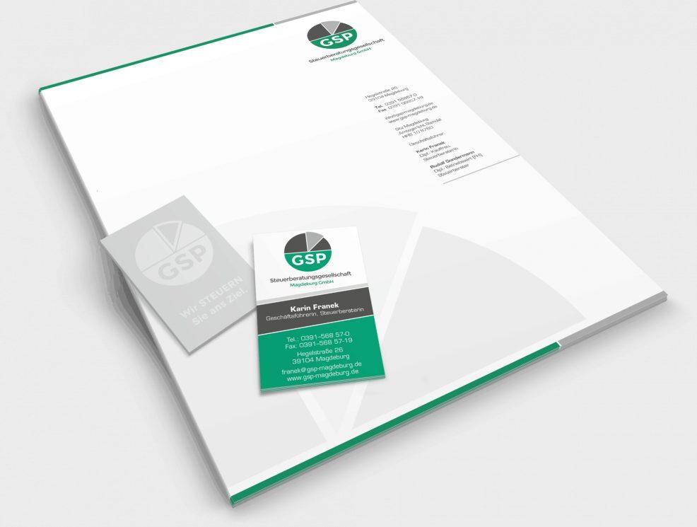 Briefkopf und Visitenkarten für  GSP Steuerberatungsgesellschaft Magdeburg GmbH