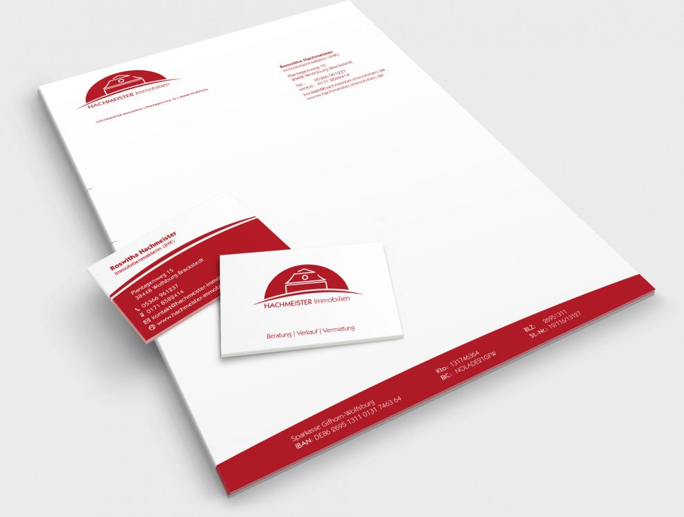 Briefkopf und Visitenkarten für  Hachmeister Immobilien