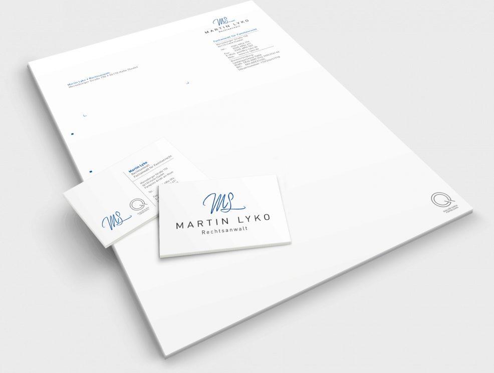Briefkopf und Visitenkarten für  Rechtsanwalt Martin Lyko