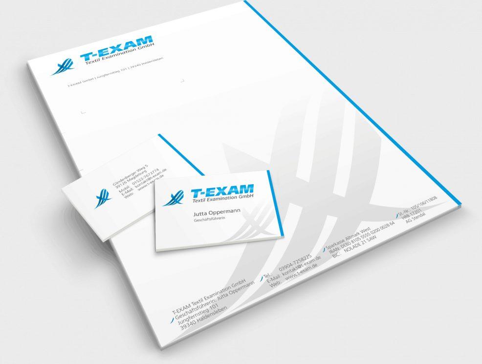 Briefkopf und Visitenkarten für  T-EXAM Textil Examination GmbH