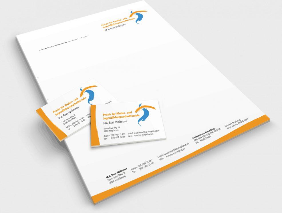 Briefkopf und Visitenkarten für  Praxis für Kinder- und Jugendlichenpsychotherapie, Berit Wallmann